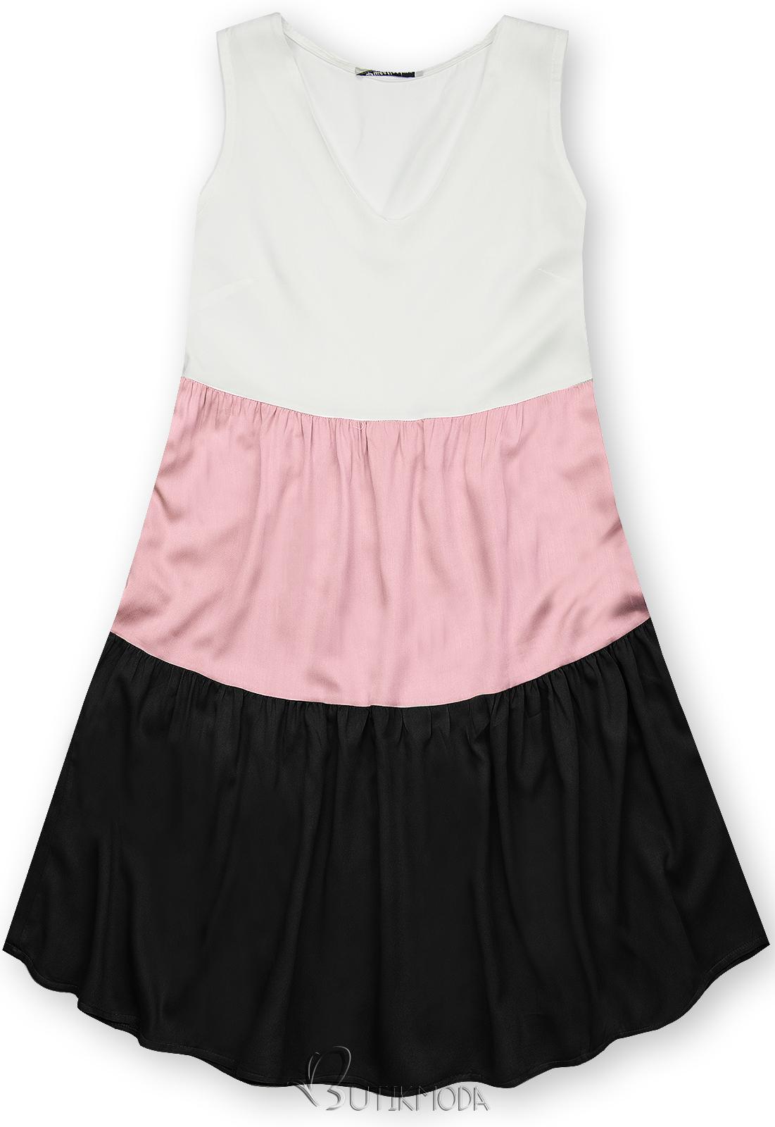 Rochie de vară din viscoză albă/roz/neagră