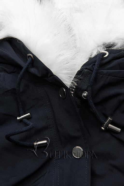 Parka bleumarin/alb pentru iarnă cu căptușeală detașabilă