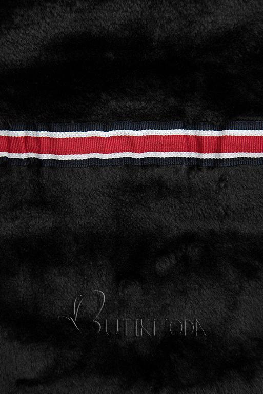 Geacă matlasată roșie cu căptușeală de pluș neagră