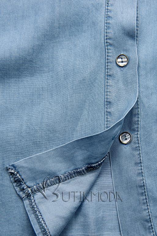 Cămașă fină din lyocell albastru deschis