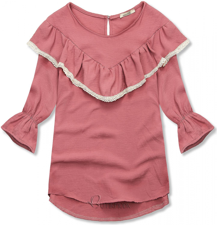 Bluză roz închis cu volănaș