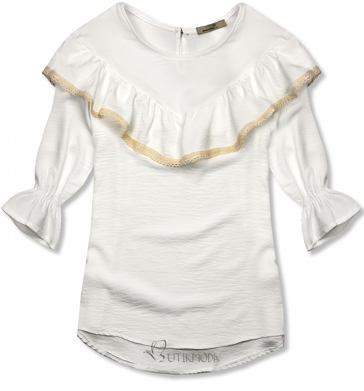 Bluză albă cu volănaș