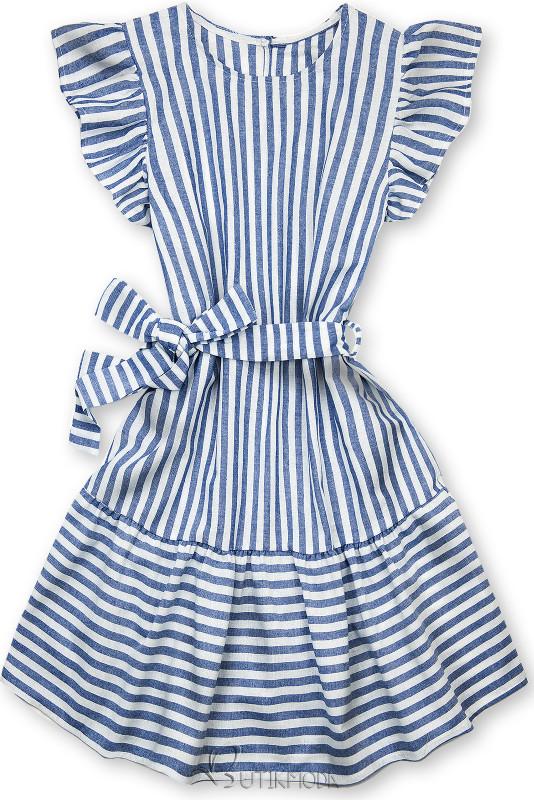 Rochie cu dungi și volane alb-albastru