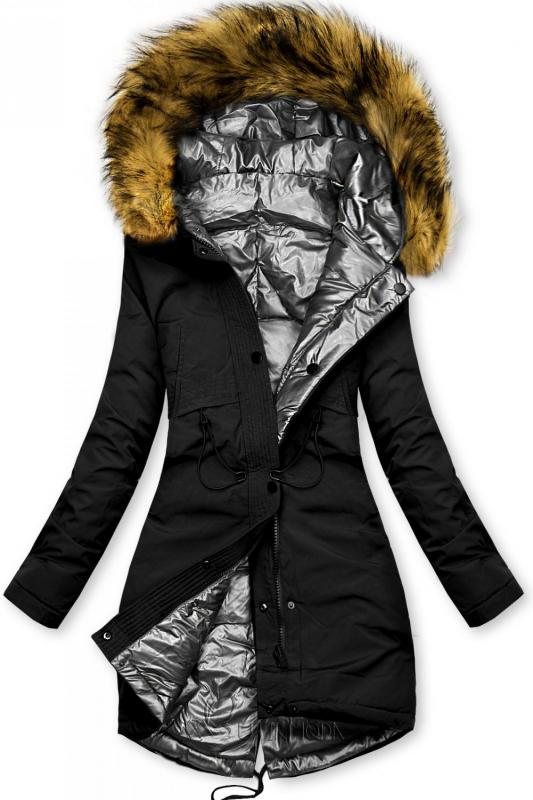 Geacă de iarnă reversibilă negru-argintiu