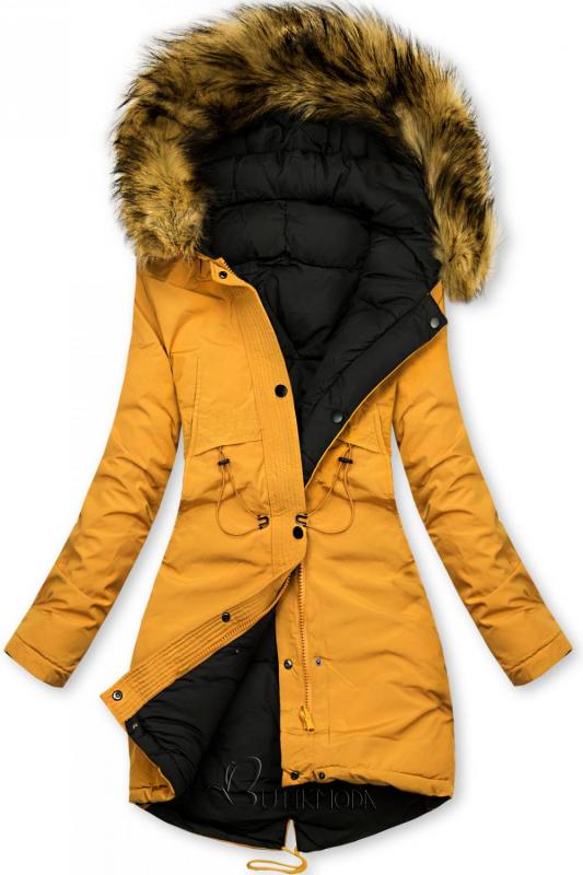 Geacă de iarnă reversibilă galben-negru