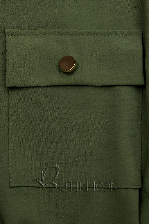 Rochie cămașă kaki