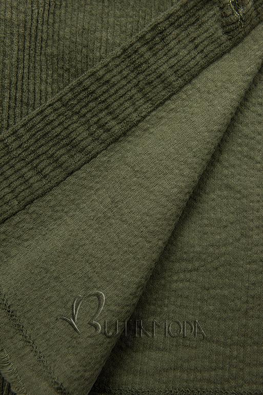 Jachetă tip cămașă din catifea reiată kaki