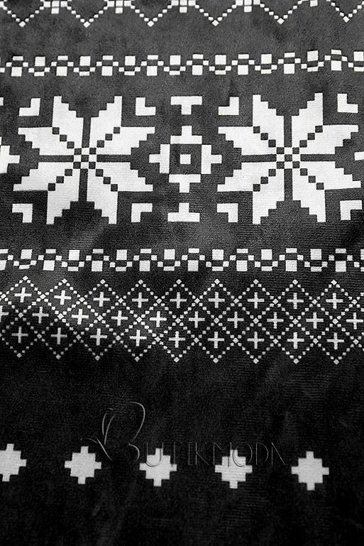 Rochie neagră din catifea cu motive de iarnă