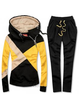 Trening tricolor negru/galben/bej