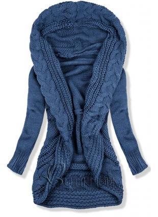 Pulover tricotat albastru jeans