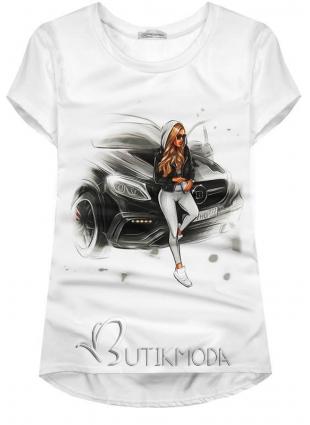 Tricou alb Girl & Car