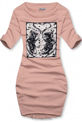Rochie roz deschis cu motiv de adidași
