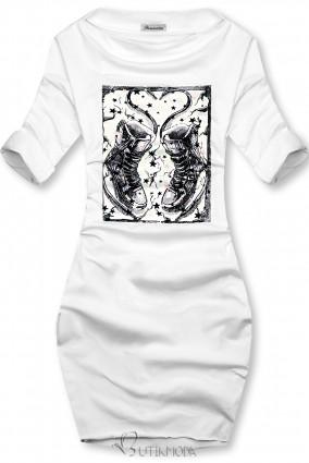 Rochie albă cu motiv de adidași