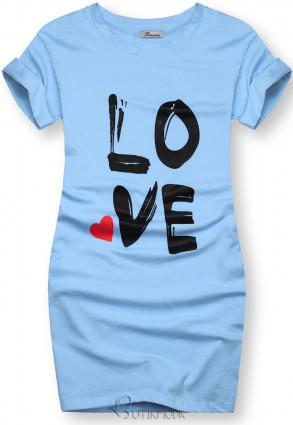 Tunică cu imprimeu LOVE albastră
