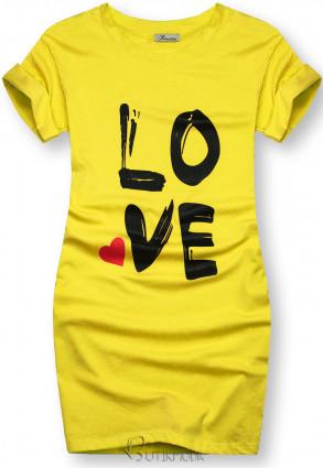 Tunică cu imprimeu LOVE galbenă
