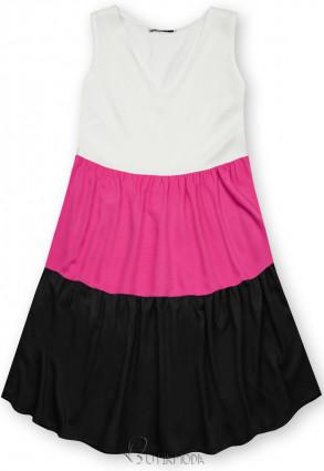 Rochie de vară din viscoză albă/fucsia/neagră