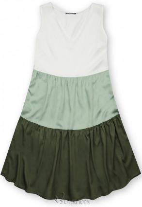 Rochie de vară din viscoză albă/mentă/verde