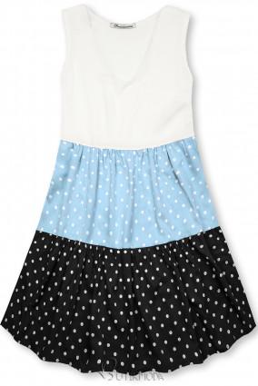 Rochie cu buline din viscoză albă/albastră/neagră