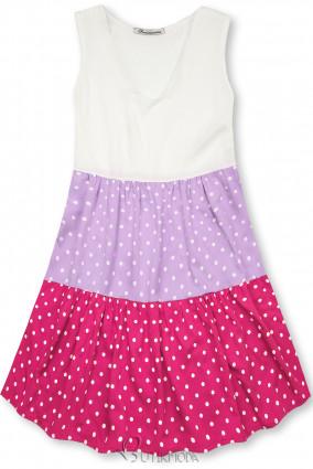 Rochie cu buline din viscoză albă/lila/roz