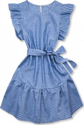 Rochie cu dungi și volane albastru-alb
