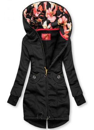 Hanorac negru cu glugă cu căptușeală florală
