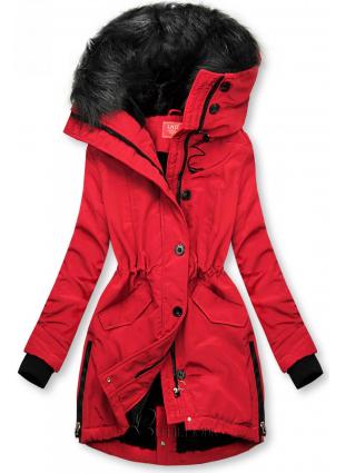 Geacă de iarnă roșie cu guler înalt