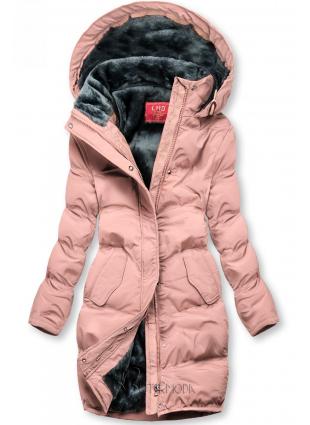 Geacă de iarnă roz cu căptușeală de pluș