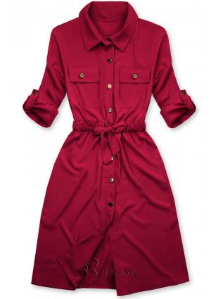 Rochie cămașă bordo