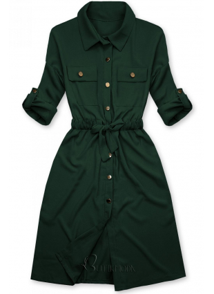 Rochie cămașă verde închis