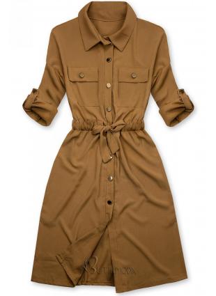 Rochie cămașă maro