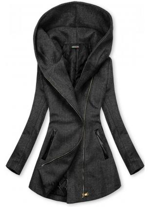 Palton antracit cu detalii din piele artificială