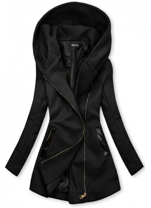 Palton negru cu detalii din piele artificială