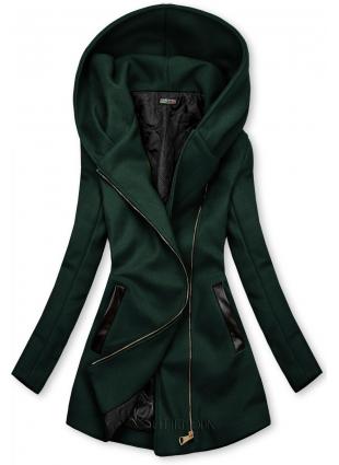 Palton verde închis cu detalii din piele artificială