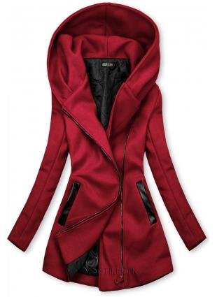 Palton bordo cu detalii din piele artificială