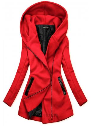 Palton roșu cu detalii din piele artificială