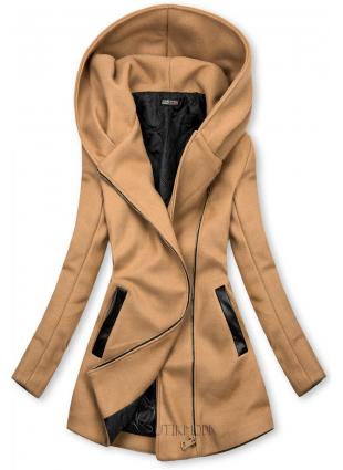 Palton maro cu detalii din piele artificială
