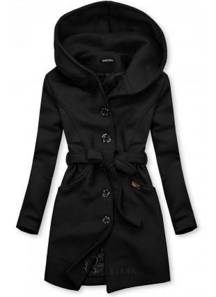 Palton negru cu glugă