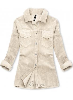 Jachetă tip cămașă din catifea reiată alb-crem