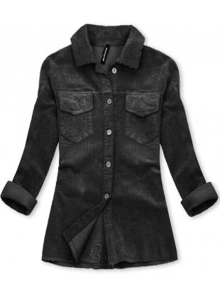 Jachetă tip cămașă din catifea reiată antracit