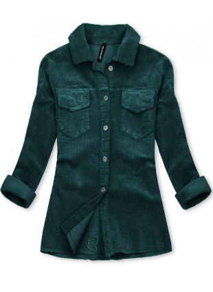 Jachetă tip cămașă din catifea reiată albastru petrol