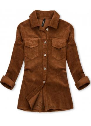 Jachetă tip cămașă din catifea reiată maro