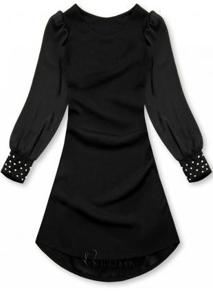 Rochie elegantă neagră cu croială în-A