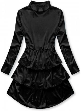 Rochie neagră din catifea cu volane
