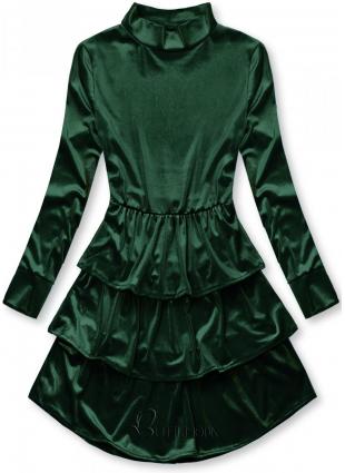 Rochie verde din catifea cu volane