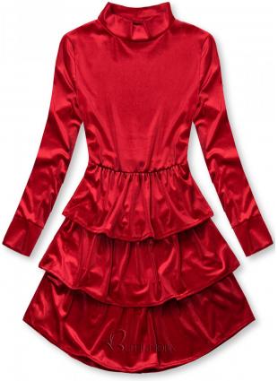 Rochie roșie din catifea cu volane