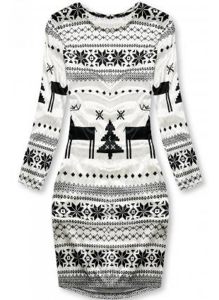 Rochie albă din catifea cu motive de iarnă