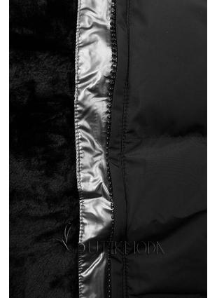 Geacă de iarnă neagră cu bandă argintie
