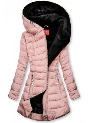 Geacă matlasată roz cu căptușeală de pluș neagră