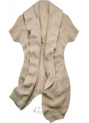 Cardigan tricotat asimetric maro