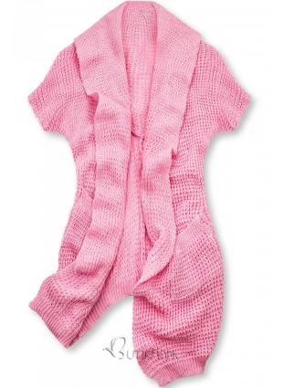 Cardigan tricotat asimetric roz